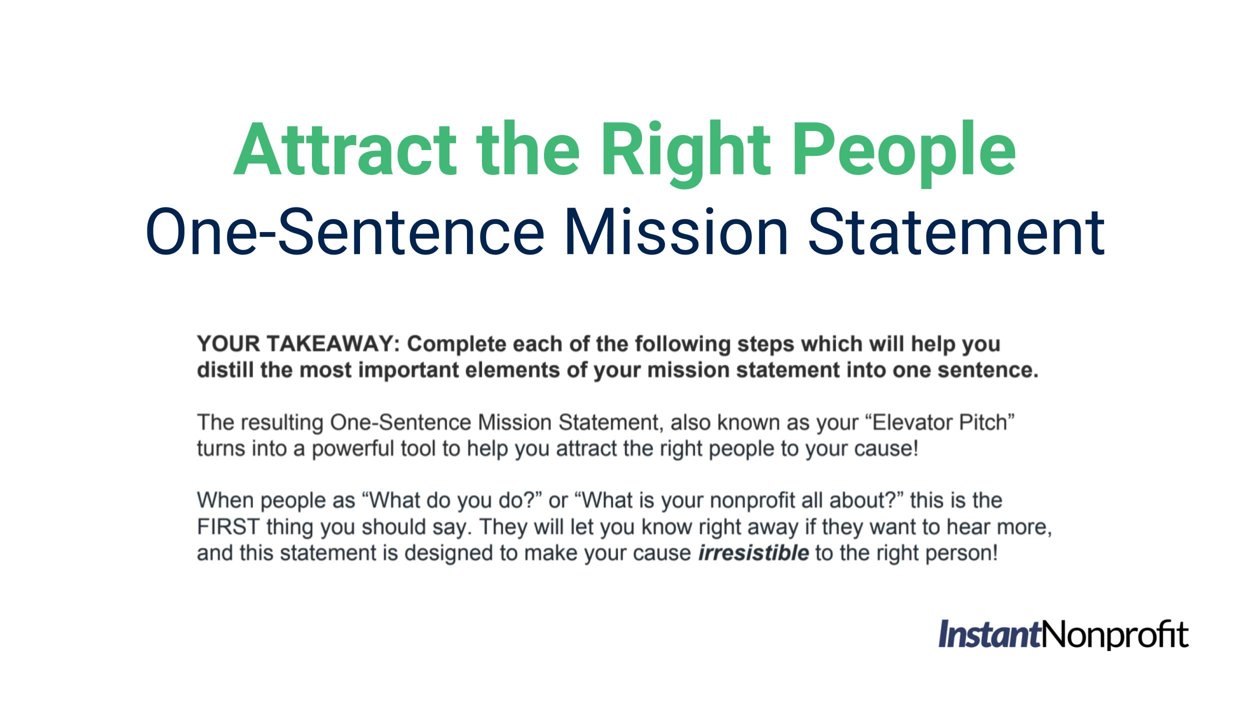 One-Sentence Nonprofit Mission Statement